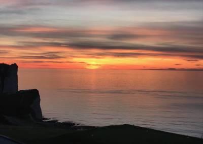 coucher soleil sur Etretat